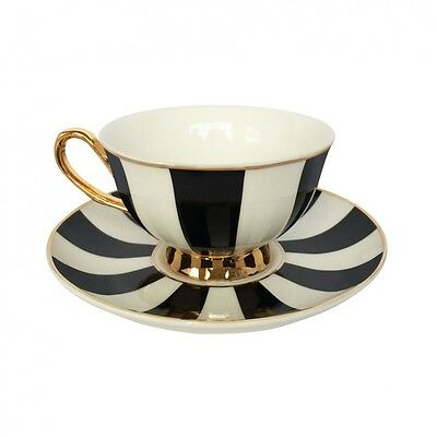 Bombay Duck NEW! Black & White Stripe Gift-Boxed Cup & Saucer