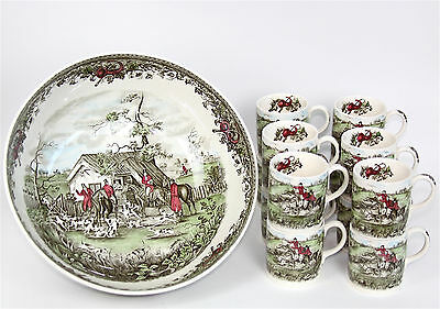 JOHNSON BROTHERS - Punch Bowl w/12 cups, Tally Ho Stirrup Cup Hunting Scene