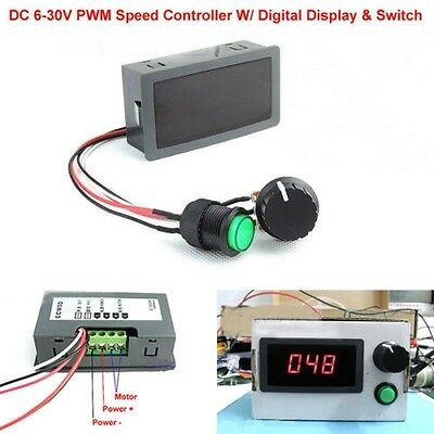 2PC DC 6-30V 12V 24V 8A PWM Motor Speed Controller With Digital Display Switch 3
