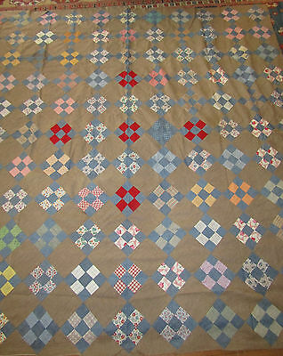 """Antique Nine Patch Pieced Quilt Top Blue Chambray Feedsack Prints Brown 86""""X86"""""""