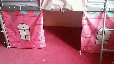 Mid Sleeper Bed with a Pink Castle Curtain