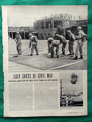1949 Magazine Article ~ Civil War Ft Sumter ~ Airborne Engineers find Shells