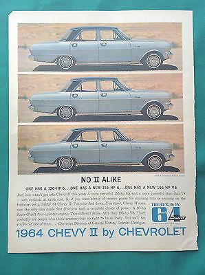 1964-1966 Lot Vintage Chevrolet Automobile Ads ~ Chevy II & Corvair & Impala
