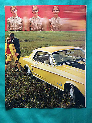 1967 Vintage Automobile Magazine Centerfold Ad ~ Ford Mustang