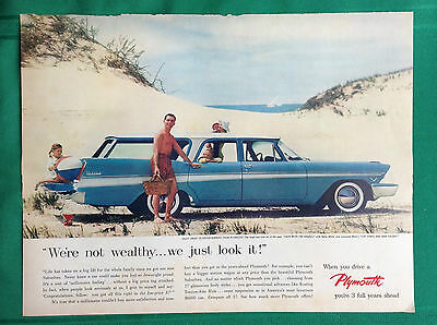 1957-1959 Lot Vintage Automobile Magazine Ads ~ Plymouth Station Wagon