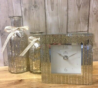 New Gold Glitter Bling Contemporary Mantle Clock Gift