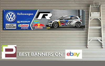 VW Polo R WRC Garage Banner XL for Workshop, Garage, Motorsport, Red Bull