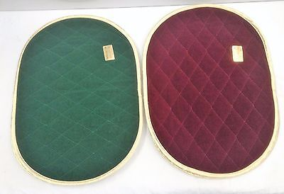 6 Fallani Cohn Placemats Oval Christmas 3 Red 3 Green Diamond Quilted Velvet ?