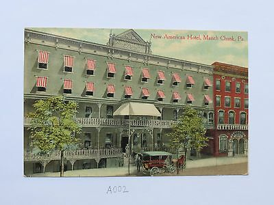 """Vintage 1911 """"New American Hotel, Mauch Chunk, PA"""" Postcard"""
