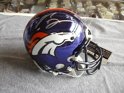 Reuben Droughns Autographed Denver Limited Edition Chrome Mini Helmet #1429/2000