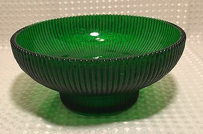 Vintage Hoosier Glass Bowl Candy Dish Emerald Green Ribbed W Beaded Rim  #4054