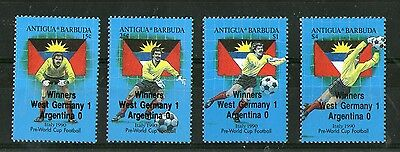 Antigua 1990 Italy Football World Cup Set With Winners Overprinted Mnh