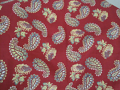"""Kathryn M Ireland  Linen Fabric 2 Yds Red """"Quilt"""" Pattern Paisley Decorator Home"""