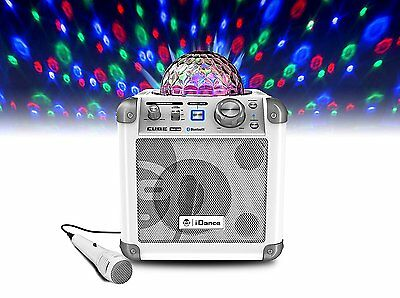 iDance Sing Cube in White - Bluetooth Karaoke System with Built-in Light Show