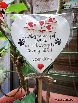 PET MEMORIAL-Dog-Cat Grave Personalised Plaque-'You left a pawprint' heart