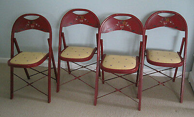 Set of 4 Bentwood Folding Chairs Original Red Paint Floral Motif