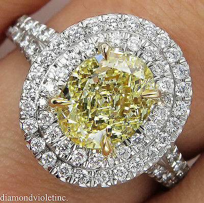 Gia 2.78Ct Estate Vintage Fancy Yellow Oval Diamond Engagement Wedding Ring Plat