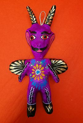 Authentic Mexican  Day Of The Dead Gorgeous Glittery Paper Mache Devil