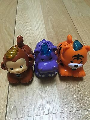 3 Vtech Toot Toot Animals Drivers, Hippo, Tiger & Monkey