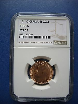 Germany Baden 20 Mark 1914G Gold NGC MS-63