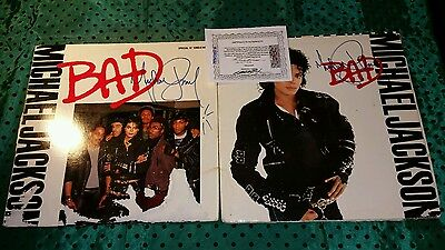 Two Albums Signed by Michael Jackson BAD Autographed XMAS Shipping Avail w/COA