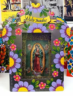 Authentic Mexican Folk Art Religious Metal Painted Nicho w/ Virgin of Guadalupe