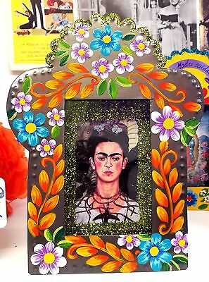 Authentic Mexican Folk Art Hand made &  Painted Nicho w/ Frida Kahlo