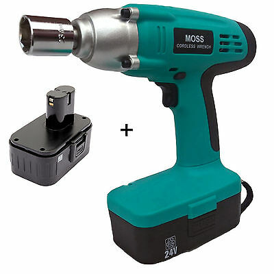 "Heavy Duty 24v Cordless Impact Wrench Gun 1/2"" Drive With 2 Twin Batteries"