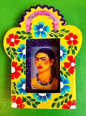 Authentic Mexican Folk Art Hand made &  Painted Nicho w/ Frida Kahlo Flowers