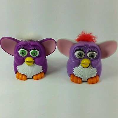 TWO 1998 MCDONALD'S HAPPY MEAL FURBY Tiger Toys VINTAGE Purple Light  PURPLE