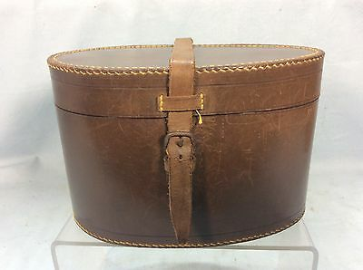 Vintage French Leather Collar & Cuff Box, Unusual Egg Shaped Box