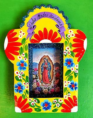 Authentic Mexican Folk Art Religious Painted Nicho w/ Virgin of Guadalupe Yellow