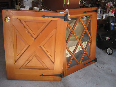 Vtg Solid Wood Dutch Door cross Lite Top Old Shabby Cottage Exterior Entry