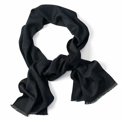 Van Heusen Men's One Size Black Color-Block Soft Thin Fringe Scarf NEW $36