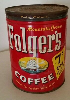 Vintage folgers coffee can