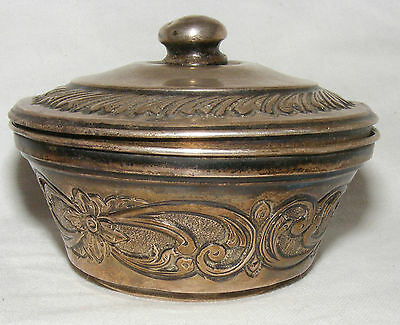 Antique Solid Silver Indian Or Persian Lidded Bowl Foliate Decoration