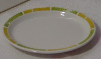 1973 Vintage Green / Yellow Border Mayer China Restaurant Oval Bread Plate