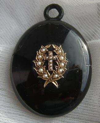 Victorian WHITBY JET Mourning Locket with Gold Laurel Leaves CROSS & Seed Pearls