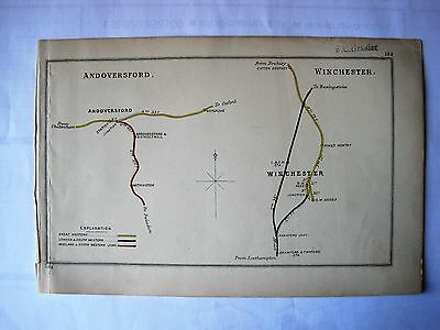 1913 RAILWAY CLEARING HOUSE Junction Diagrams WINCHESTER,ANDOVERSFORD.