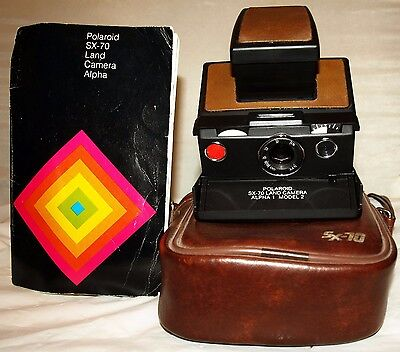 Polaroid SX-70 Land Camera Alpha 1 Model 2 W/ Case & Manual Fully Tested Working