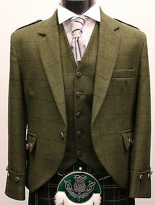Green Tweed New Jacket & Vest Made To Measure For Sporran Kilts & Kilt £189