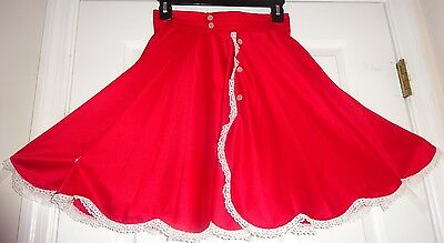 "Skirt Square Dance Christmas Red & White Buttons And  Lace Scallop Hem 18""short"