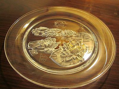 Daum Glass Plate Water Lillies Signed