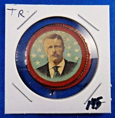 Original 1896 President Theodore Roosevelt Whitehead & Hoag Newark NJ Pin Button