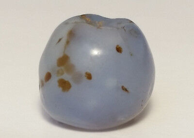 12.5mm ANCIENT RARE BLUE CHALCEDONY AGATE BEAD