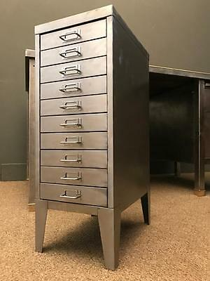 Vintage Industrial Stripped Metal 10 Drawer Filing Cabinet Storage Free Delivery