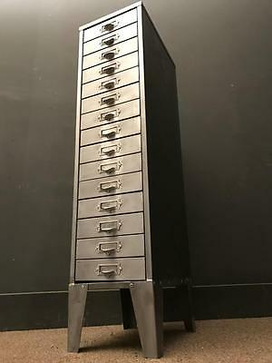 Vintage Industrial Stripped Metal Tall Filing Cabinet Storage Free Delivery