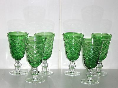 6 x Bohemian Green Cut to Clear Stemmed Sherry Glasses  13.5cm high