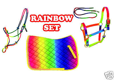 Rainbow Set Saddle Cloth, Rope Halter & Headcollar & Leadrope Pony,Cob,Full