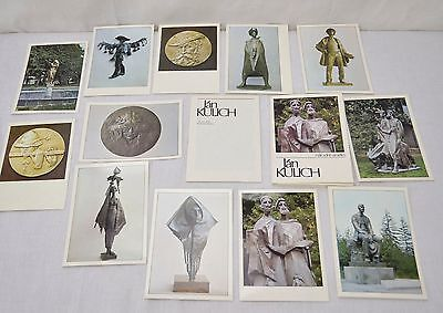 Vintage Lot Of 12 Travel Post Cards Unused In Folder Russian Famous Sculptures